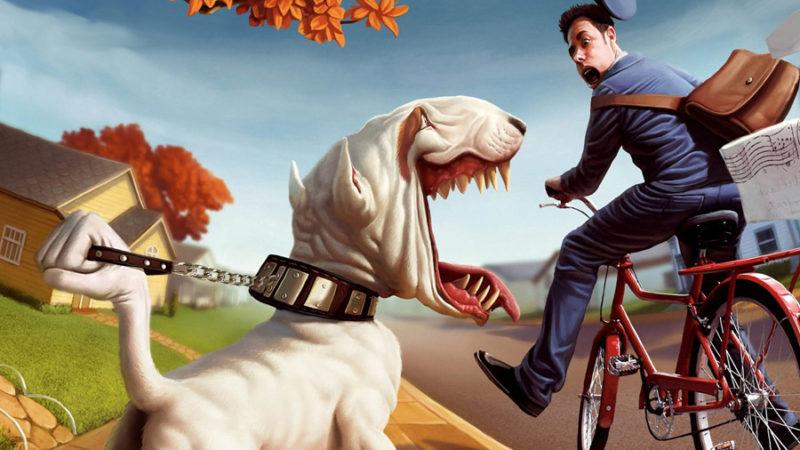 собака и велосипедист